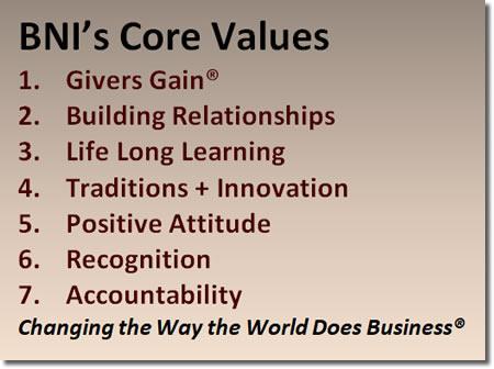 BNI San Fernando Valley Core Values